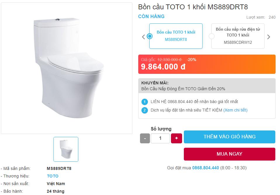 Giá bán bồn cầu TOTO MS889DRT8 một khối