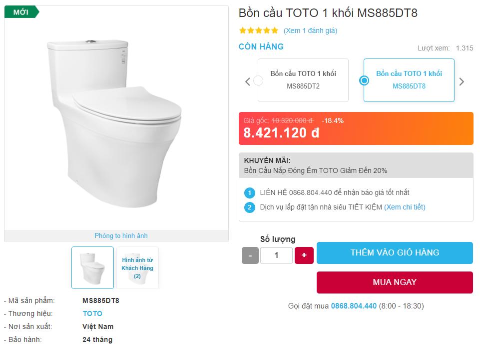 Giá bán bồn cầu TOTO MS885DT8