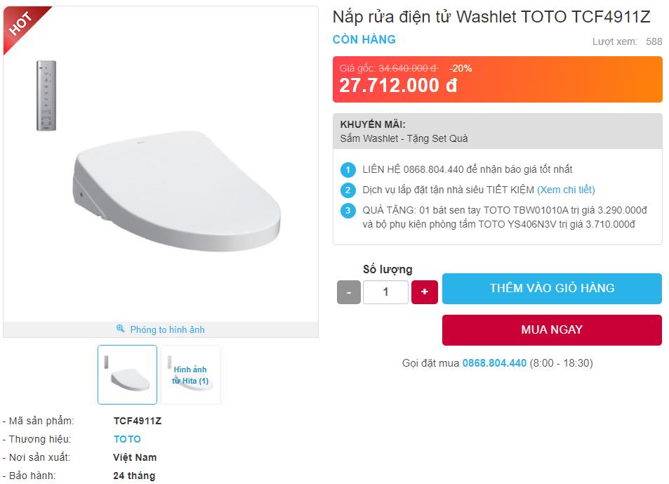 Giá bán nắp rửa điện tử WASHLET TOTO TCF4911Z