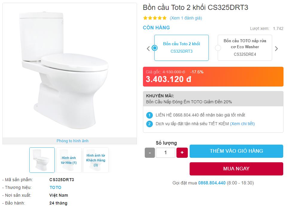 Giá bán bồn cầu Toto 2 khối CS325DRT3 hai khối