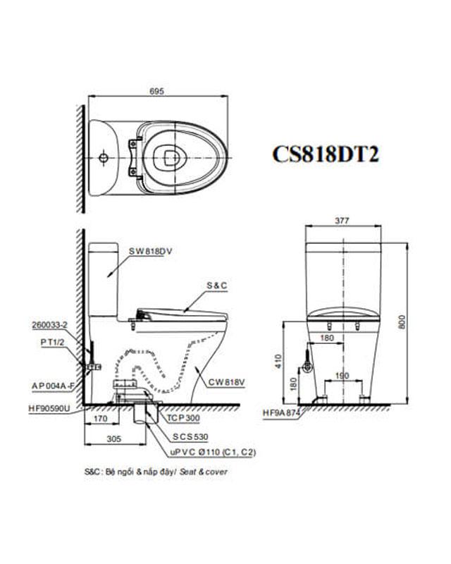 Thông số kỹ thuật bồn cầu TOTO 2 khối CS818DT2