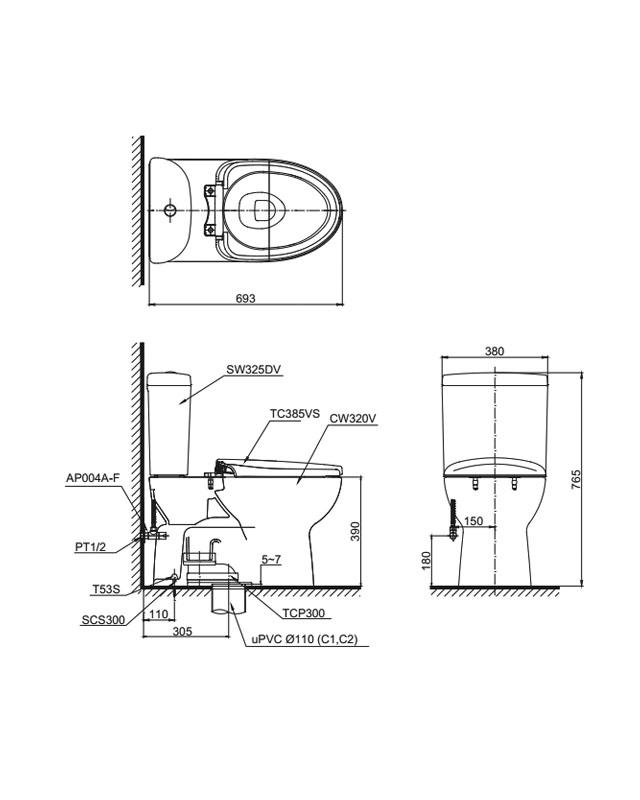 Thông số kỹ thuật bồn cầu Toto 2 khối CS325DRT3