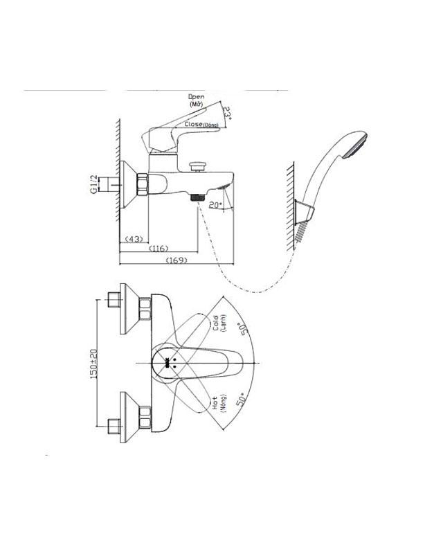 Thông số kỹ thuật vòi sen Inax BFV-1113S-4C nóng lạnh