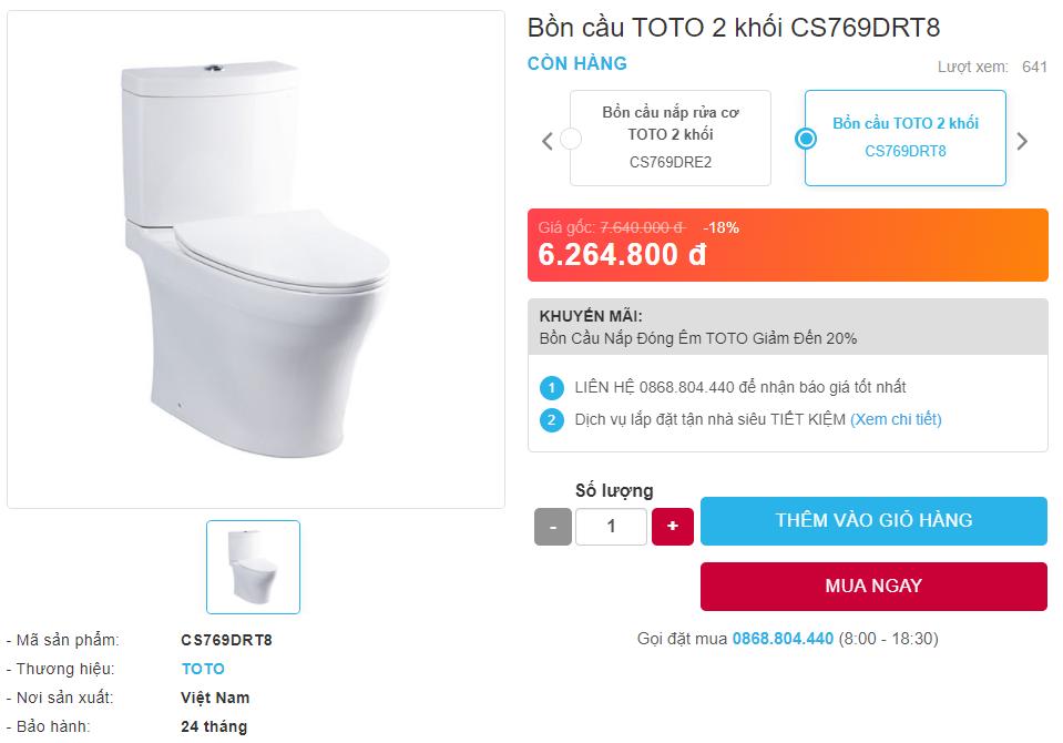 Giá bán bồn cầu Toto 2 khối CS769DRT8 hai khối