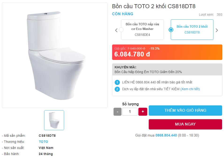 giá bán bồn cầu CS818DT8